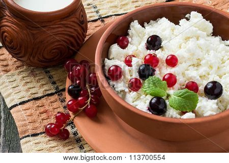 Cottage Cheese With Red And Black Currants