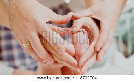 Childrens feet in hands of mother and father.