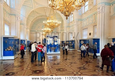 SAINT PETERSBURG, RUSSIA - JAN 08, 2016: Interior of the State Hermitage, a museum of art and culture in Saint Petersburg, Russia. It was founded in 1764 by Catherine the Great