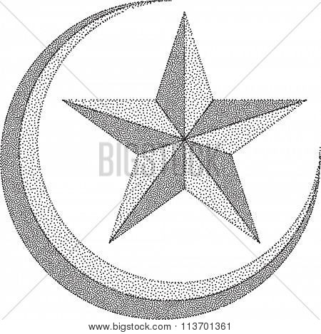 Moon Star Stipple Effect Vector Illustration