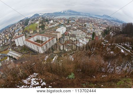 View to the historical part of the Lucerne city, Switzerland.