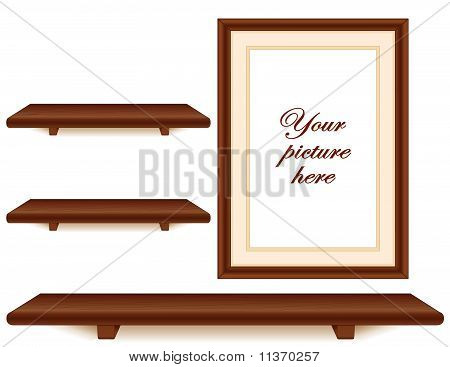 Mahogany Wood Shelves, Picture Frame