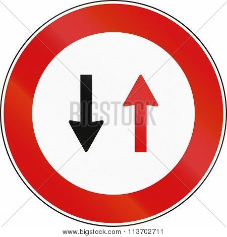 Road Sign Used In Italy - Oncoming Traffic Has Priority