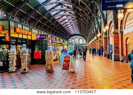 Copenhagen, Denmark - January 3, 2015: Copenhagen Central Station Is The Main Railway Station In Cop