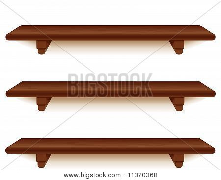 Mahogany Wood Shelves, Horizontal