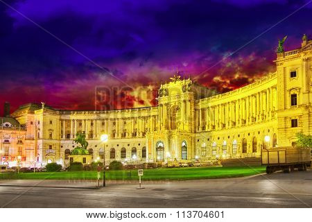 Vienna, Austria- September 10, 2015: Hofburg Palace Seen From Michaelerplatz, Wide-angle View At Dus