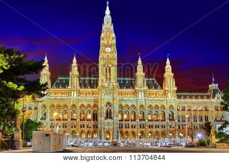 Vienna's Town Hall (rathaus). The Town Hall Also Serves, In Personal Union, As Governor And Assembly