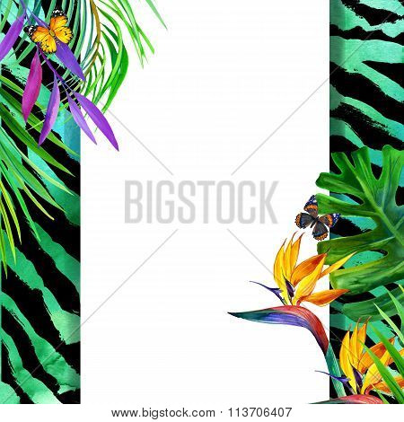 Summer tropical concept for design. Watercolor tropical paradise with palm leaves, unusual flowers a