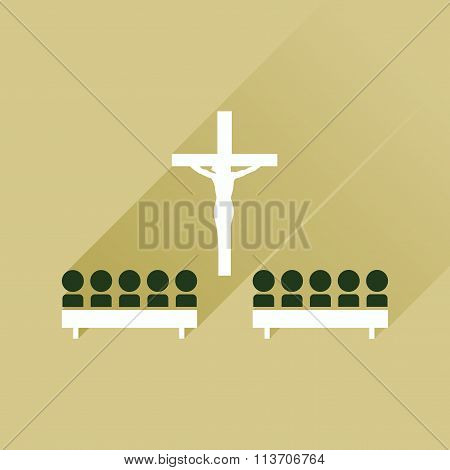 Flat icon with long shadow People in church