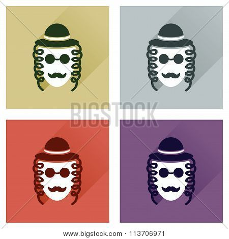 Concept of flat icons with long shadow Jewish man