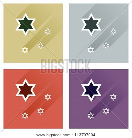 Concept of flat icons with long shadow Star David