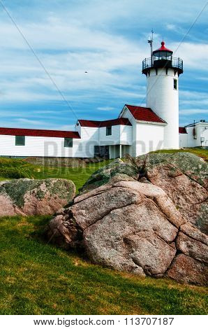 Eastern Point Lighthouse Built on Rocky Terrain