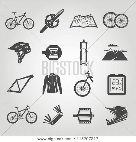Simple black icons set. Bikes