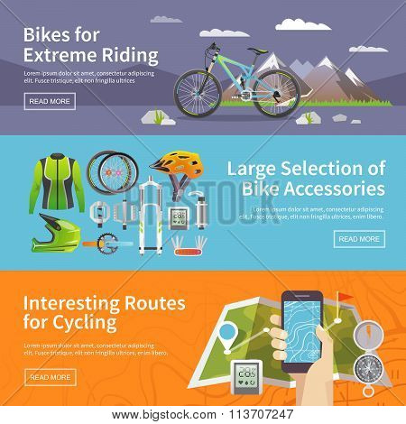 Web banners set. Sale Of Bicycles