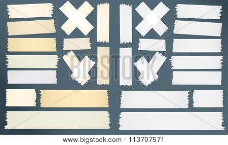 Different size, horizontal, cross, adhesive sticky tape pieces