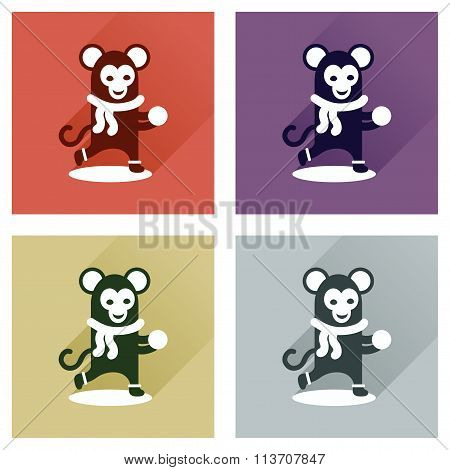 Concept of flat icons with long shadow monkey snow