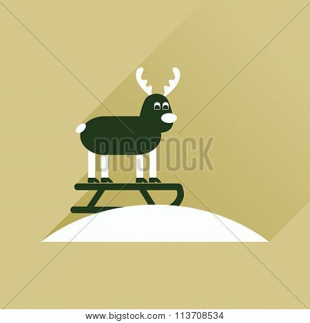 Flat icon with long shadow Reindeer sledging