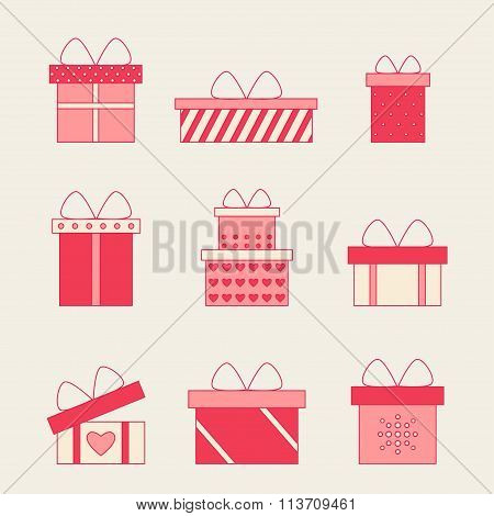 Colorful gift boxes with bows and ribbons vector set.