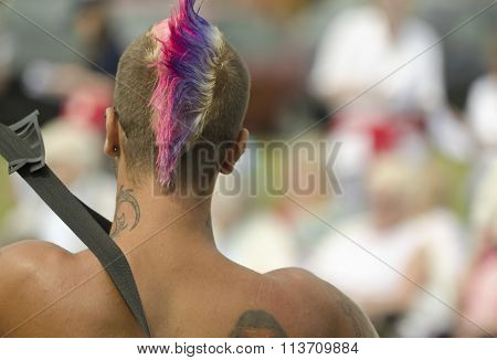 Man with a Mohawk hairstyle