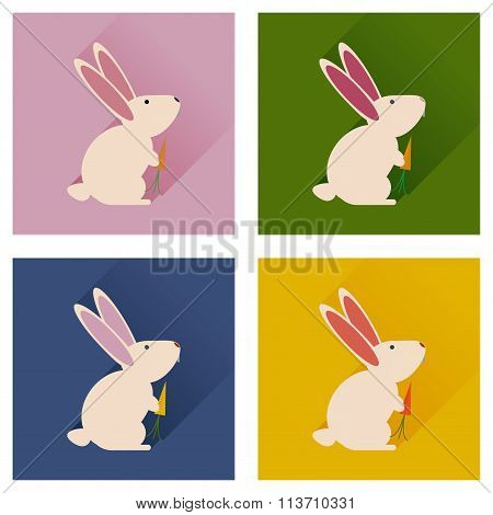 Set of flat icons with long shadow rabbit carrot