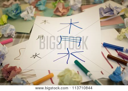Mandarin; Kids Writing New Chinese Character For Practice