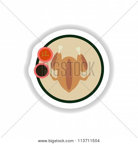 stylish paper sticker roasted chicken on a plate