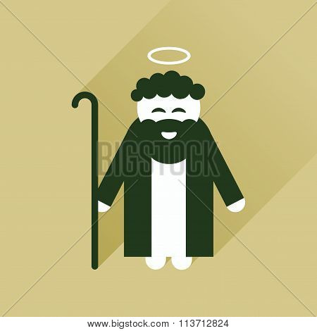 Flat icon with long shadow Father of Jesus Christ