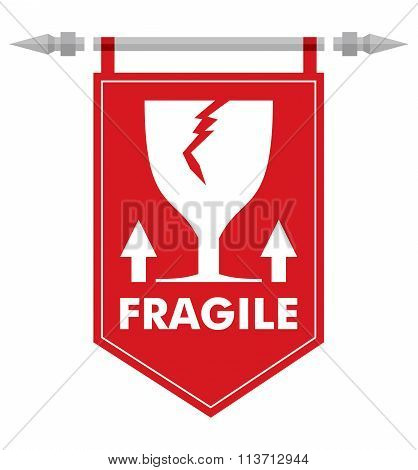 Fragile Sign On Abstract Flag