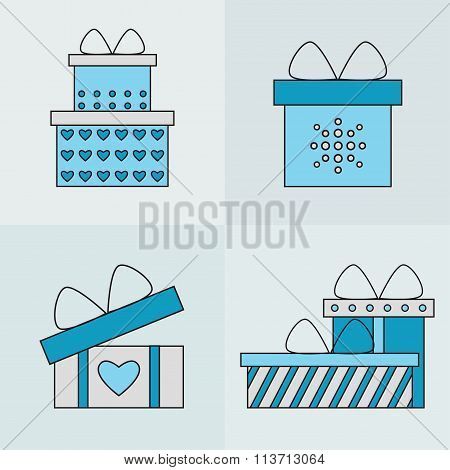 Present box isolated icons on background.