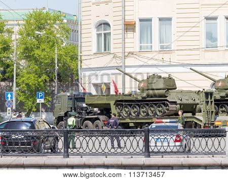Transportation Of Tanks For Victory Parade