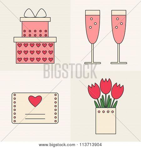 Valentine day icons.