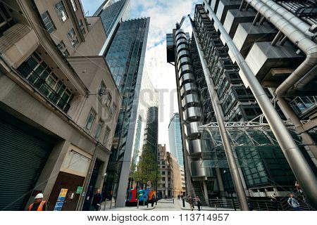 LONDON, UK - SEP 27: Financial district office buildings in street on September 27, 2013 in London, UK. London is the world's greatest foreign exchange market with major trade conducted in district.