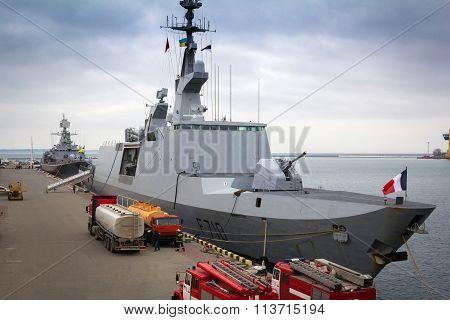 Odesa, UKRAINE - MARCH, 26, 2015: Lafayette French ship refuels in Odessa