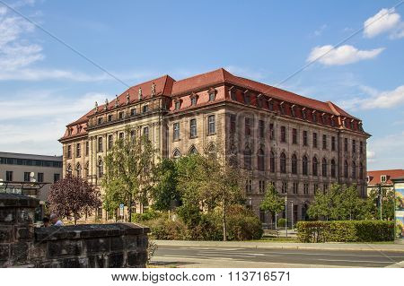 NUREMBERG, GERMANY - AUGUST 23, 2015: The Gewerbemuseum building with it's neo-baroque style is a former museum in the city of Nuremberg and now serves as educational center