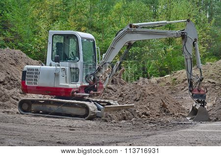 Small Excavator, Work In The Forest, South Bohemia