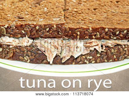 Tuna salad sandwich on Rye Bread
