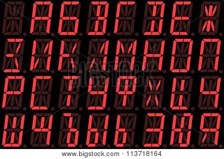 Digital Cyrillic Font From Capital Letters On Red Alphanumeric Led Display