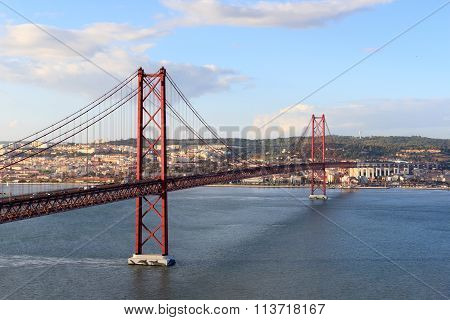 25 De Abril Bridge And Lisbon Cityscape