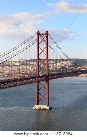25 De Abril Bridge And Lisbon Cityscape