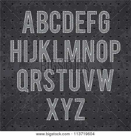 metal black grille alphabet eps 10