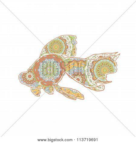 Hand drawn vector floating goldfish with mandalas