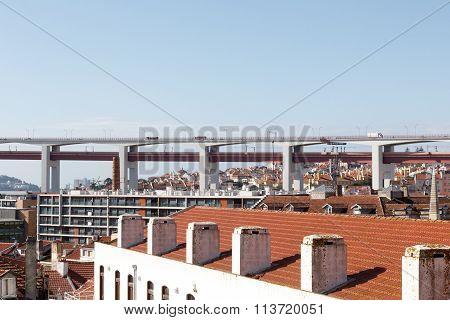 25 de Abril Bridge close-up and Lisbon cityscape