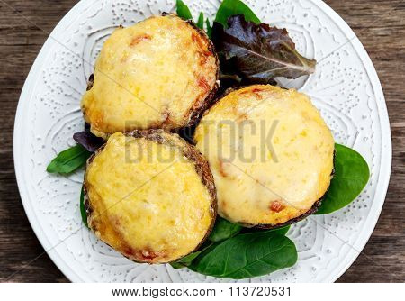 Cooked Mushrooms With Vegetables And Cheese