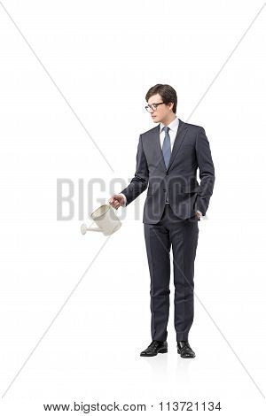 Businessman With A Watering Pot