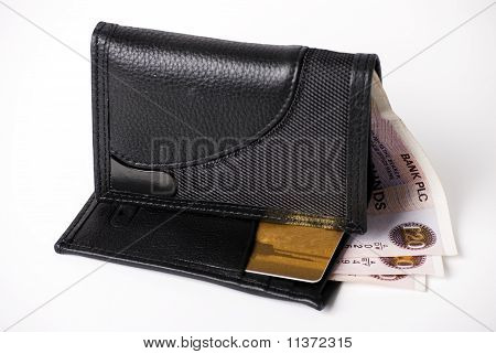 wallet credit card and money