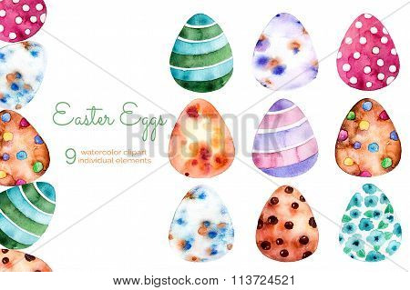 Colorful Easter Eggs Clipart on white bqckground.9 hand painted elements
