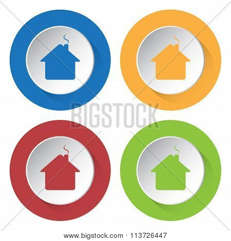 Set Of Four Icons - Home