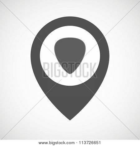 Isolated Map Marker With A Plectrum