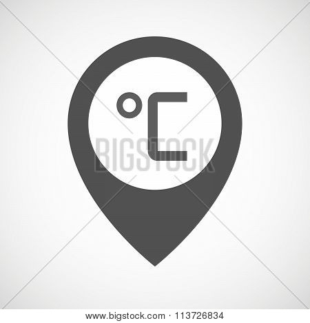 Isolated Map Marker With  A Celsius Degree Sign