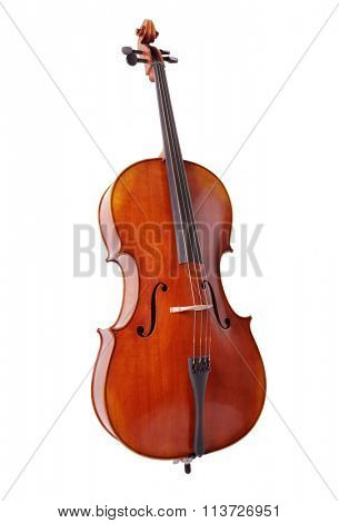 Cello isolated on white background for music, lessons and education concepts